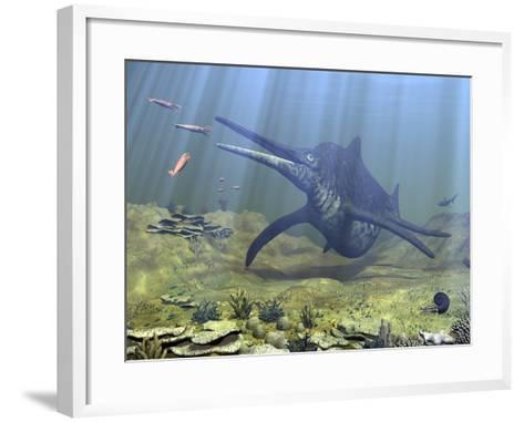 A Massive Shonisaurus Attempts to Make a Meal of a School of Squid-Like Belemnites-Stocktrek Images-Framed Art Print