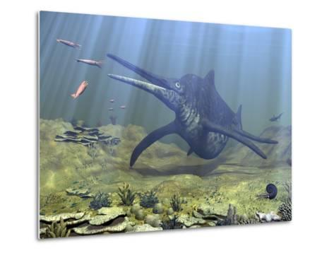 A Massive Shonisaurus Attempts to Make a Meal of a School of Squid-Like Belemnites-Stocktrek Images-Metal Print