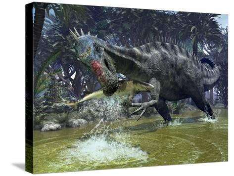 A Suchomimus Snags a Shark from a Lush Estuary-Stocktrek Images-Stretched Canvas Print
