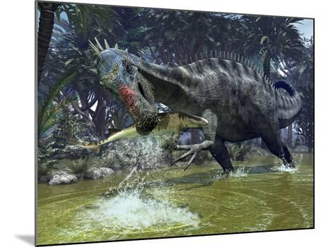 A Suchomimus Snags a Shark from a Lush Estuary-Stocktrek Images-Mounted Photographic Print
