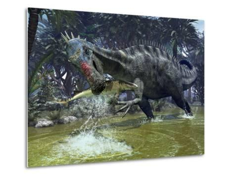A Suchomimus Snags a Shark from a Lush Estuary-Stocktrek Images-Metal Print
