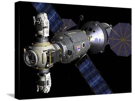 Artist's Concept of a Deep Space Vehicle with Extended Stay Module and Manned Maneuvering Vehicles-Stocktrek Images-Stretched Canvas Print