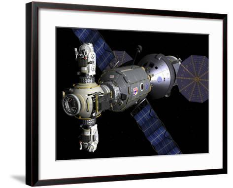 Artist's Concept of a Deep Space Vehicle with Extended Stay Module and Manned Maneuvering Vehicles-Stocktrek Images-Framed Art Print