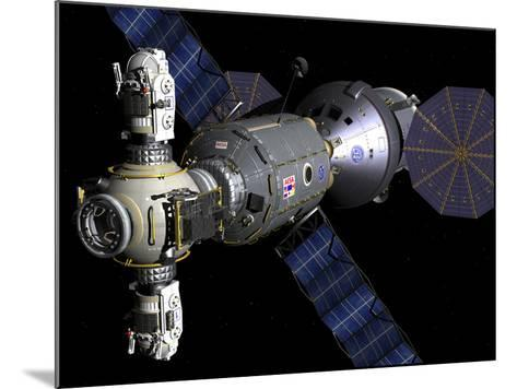 Artist's Concept of a Deep Space Vehicle with Extended Stay Module and Manned Maneuvering Vehicles-Stocktrek Images-Mounted Photographic Print