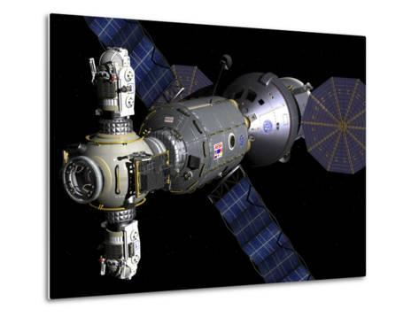 Artist's Concept of a Deep Space Vehicle with Extended Stay Module and Manned Maneuvering Vehicles-Stocktrek Images-Metal Print