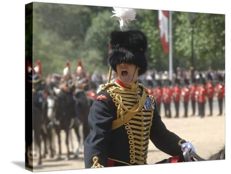 An Officer Shouts Commands During the Trooping the Colour Ceremony at Horse Guards Parade, London-Stocktrek Images-Stretched Canvas Print