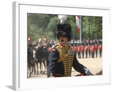 An Officer Shouts Commands During the Trooping the Colour Ceremony at Horse Guards Parade, London-Stocktrek Images-Framed Art Print