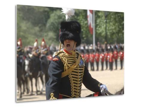 An Officer Shouts Commands During the Trooping the Colour Ceremony at Horse Guards Parade, London-Stocktrek Images-Metal Print
