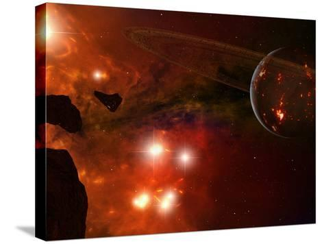 A Young Ringed Planet with Glowing Lava and Asteroids in the Foreground-Stocktrek Images-Stretched Canvas Print