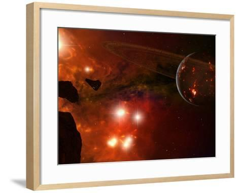 A Young Ringed Planet with Glowing Lava and Asteroids in the Foreground-Stocktrek Images-Framed Art Print