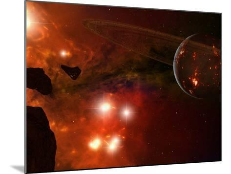 A Young Ringed Planet with Glowing Lava and Asteroids in the Foreground-Stocktrek Images-Mounted Photographic Print