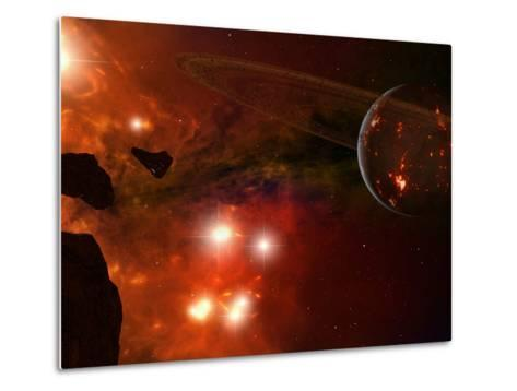 A Young Ringed Planet with Glowing Lava and Asteroids in the Foreground-Stocktrek Images-Metal Print