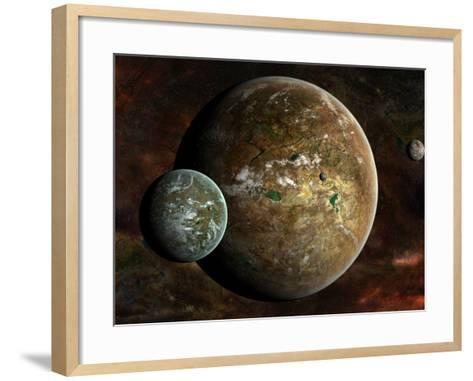 A System of Extraterrestrial Planets and their Moons-Stocktrek Images-Framed Art Print