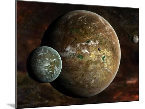 A System of Extraterrestrial Planets and their Moons-Stocktrek Images-Mounted Photographic Print