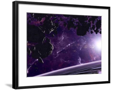 Artist's Concept of an Asteroid Field Against a Celestial Background-Stocktrek Images-Framed Art Print