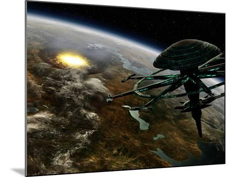 A Space Station Orbits a Terrestrial Planet That Has Been Hit by an Asteroid-Stocktrek Images-Mounted Photographic Print