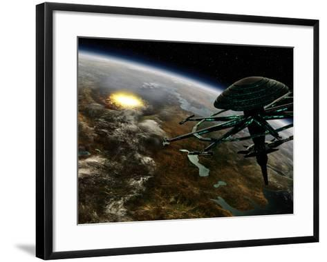 A Space Station Orbits a Terrestrial Planet That Has Been Hit by an Asteroid-Stocktrek Images-Framed Art Print