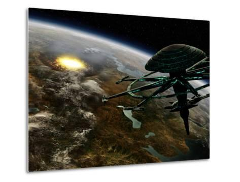A Space Station Orbits a Terrestrial Planet That Has Been Hit by an Asteroid-Stocktrek Images-Metal Print