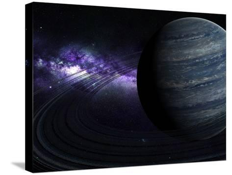 Artist's Concept of a Blue Ringed Gas Giant in Front of a Galaxy-Stocktrek Images-Stretched Canvas Print