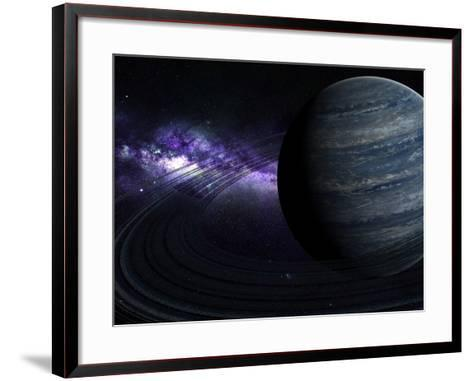 Artist's Concept of a Blue Ringed Gas Giant in Front of a Galaxy-Stocktrek Images-Framed Art Print