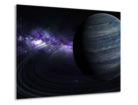 Artist's Concept of a Blue Ringed Gas Giant in Front of a Galaxy-Stocktrek Images-Metal Print