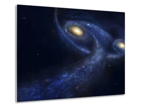 The Predicted Collision Between the Andromeda Galaxy and the Milky Way-Stocktrek Images-Metal Print