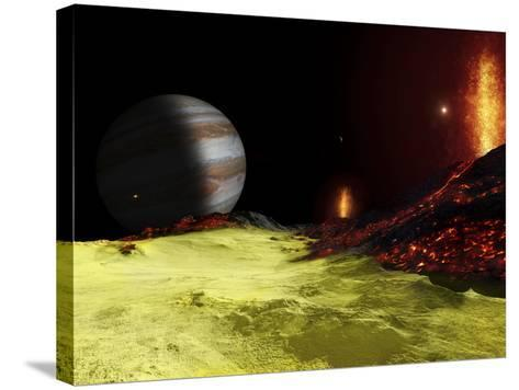 Volcanic Activity on Jupiter's Moon Io, with the Planet Jupiter Visible on the Horizon-Stocktrek Images-Stretched Canvas Print