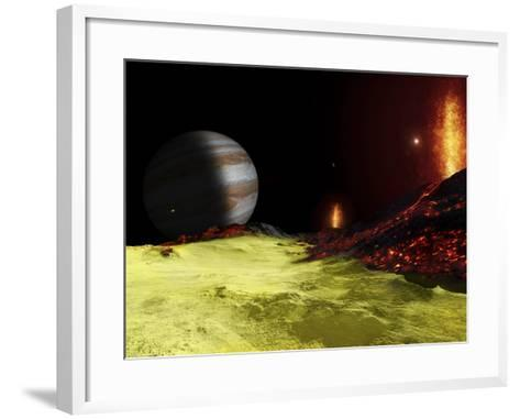 Volcanic Activity on Jupiter's Moon Io, with the Planet Jupiter Visible on the Horizon-Stocktrek Images-Framed Art Print