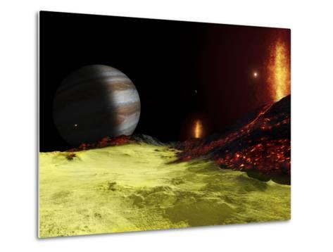 Volcanic Activity on Jupiter's Moon Io, with the Planet Jupiter Visible on the Horizon-Stocktrek Images-Metal Print