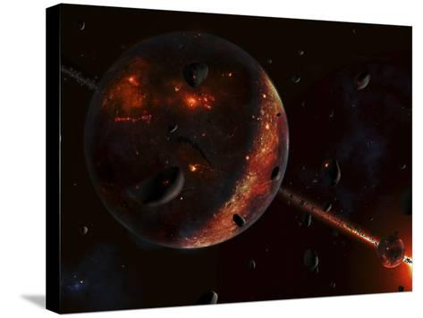 A Scene Portraying the Early Stages of a Solar System Forming-Stocktrek Images-Stretched Canvas Print