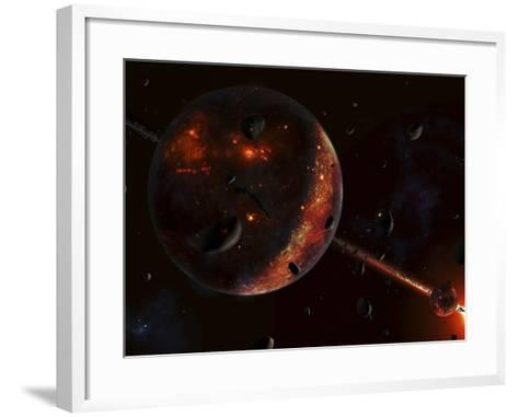 A Scene Portraying the Early Stages of a Solar System Forming-Stocktrek Images-Framed Art Print