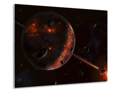 A Scene Portraying the Early Stages of a Solar System Forming-Stocktrek Images-Metal Print