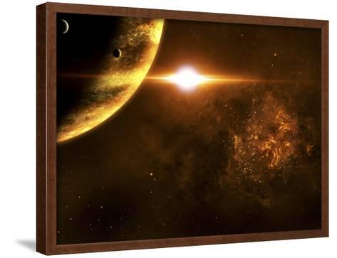 A Star Going Critical Illuminates a Nearby Planet and Nebula-Stocktrek Images-Framed Art Print