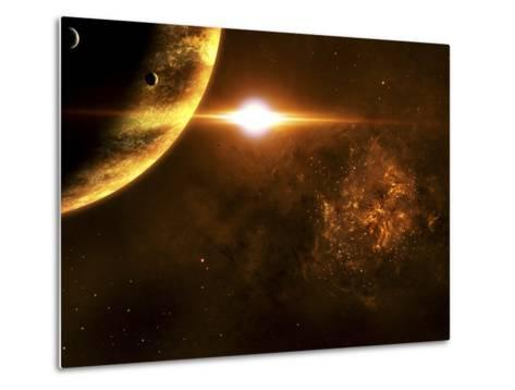 A Star Going Critical Illuminates a Nearby Planet and Nebula-Stocktrek Images-Metal Print