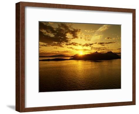 A Gas Giant and Multiple Moons Look Down on a Beautiful Island Sunset-Stocktrek Images-Framed Art Print