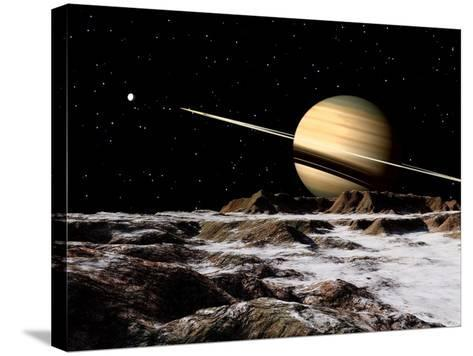 Saturn Seen from the Surface of its Moon, Rhea-Stocktrek Images-Stretched Canvas Print