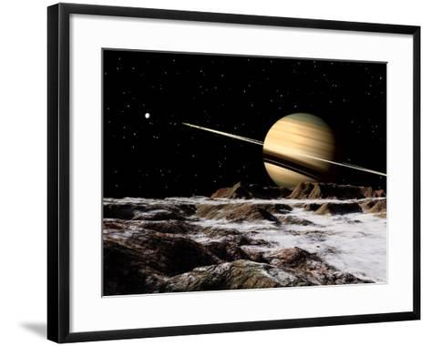 Saturn Seen from the Surface of its Moon, Rhea-Stocktrek Images-Framed Art Print