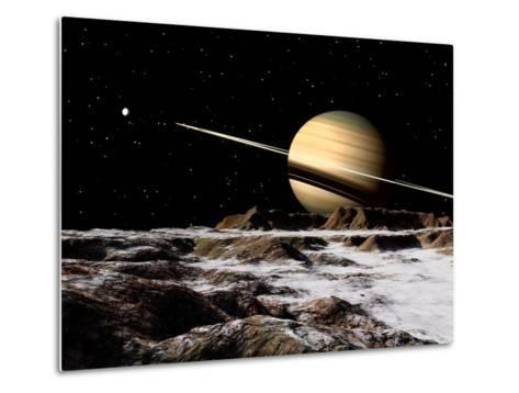 Saturn Seen from the Surface of its Moon, Rhea-Stocktrek Images-Metal Print
