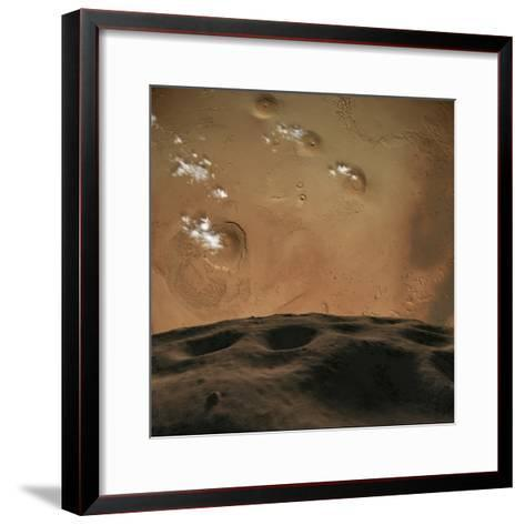 Phobos Orbits So Close to Mars That the Planet Would Fill the Little Moon's Sky-Stocktrek Images-Framed Art Print