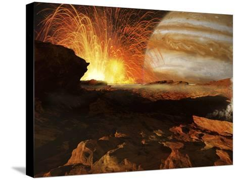 A Scene on Jupiter's Moon, Io, the Most Volcanic Body in the Solar System-Stocktrek Images-Stretched Canvas Print