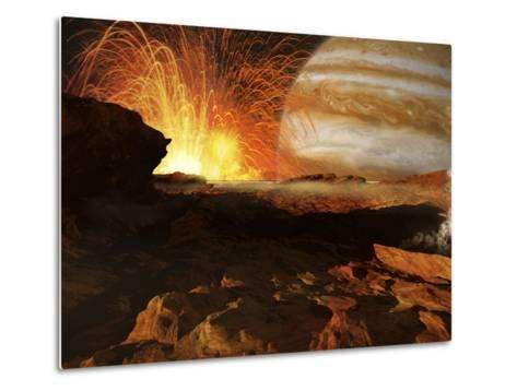 A Scene on Jupiter's Moon, Io, the Most Volcanic Body in the Solar System-Stocktrek Images-Metal Print