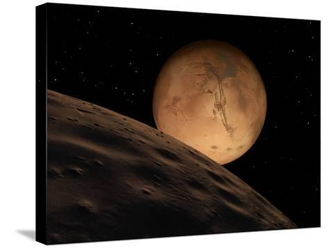 Mars Seen from its Outer Moon, Deimos-Stocktrek Images-Stretched Canvas Print