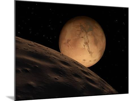 Mars Seen from its Outer Moon, Deimos-Stocktrek Images-Mounted Photographic Print