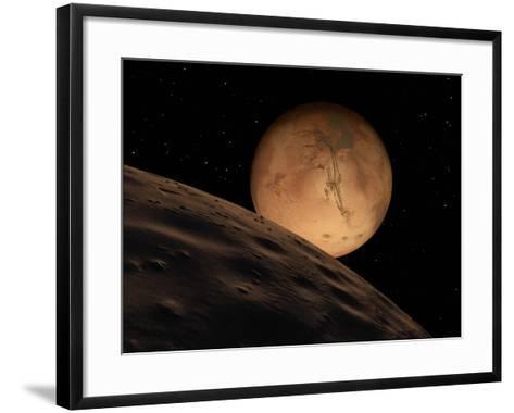 Mars Seen from its Outer Moon, Deimos-Stocktrek Images-Framed Art Print