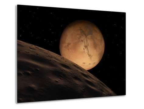 Mars Seen from its Outer Moon, Deimos-Stocktrek Images-Metal Print
