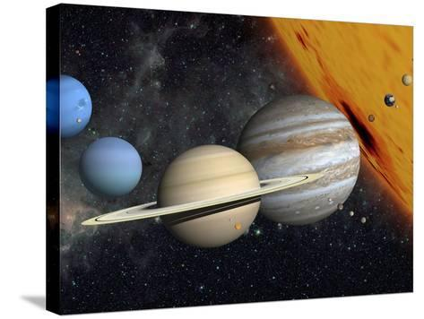 The Planets and Larger Moons to Scale with the Sun-Stocktrek Images-Stretched Canvas Print