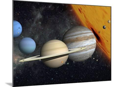 The Planets and Larger Moons to Scale with the Sun-Stocktrek Images-Mounted Photographic Print