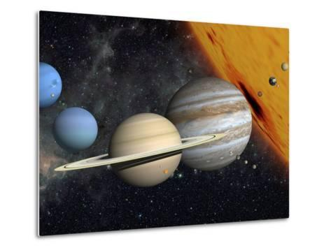 The Planets and Larger Moons to Scale with the Sun-Stocktrek Images-Metal Print