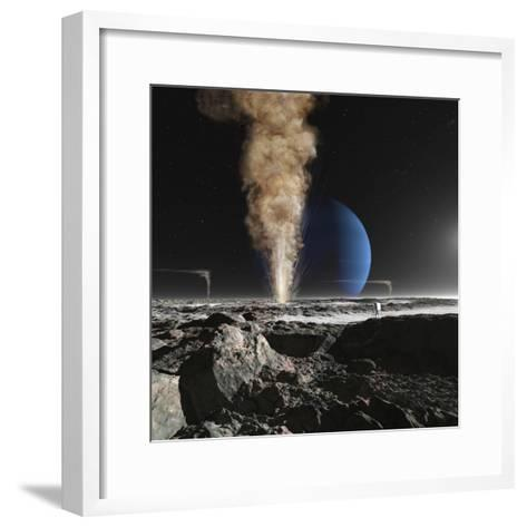 An Astronaut Observes the Ruption of One of Triton's Giant Cryogeysers-Stocktrek Images-Framed Art Print