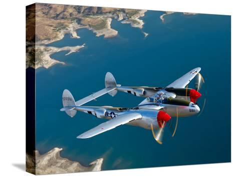 A Lockheed P-38 Lightning Fighter Aircraft in Flight-Stocktrek Images-Stretched Canvas Print